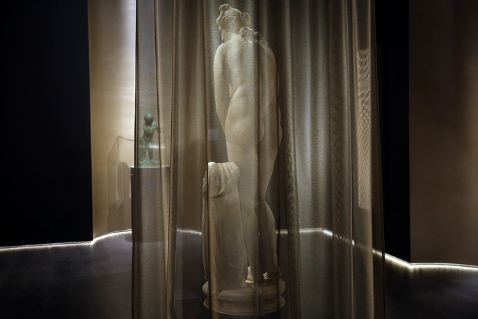 A marble statue of ancient Greek goddess Aphrodite is displayed for the first time in the National Archaeological Museum in Athens, April 4