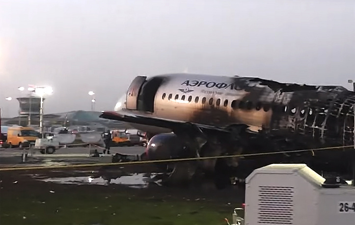 Aeroflot Sukhoi Superjet-100 (SSJ100) passenger aircraft after crashlanding at Sheremetyevo airport
