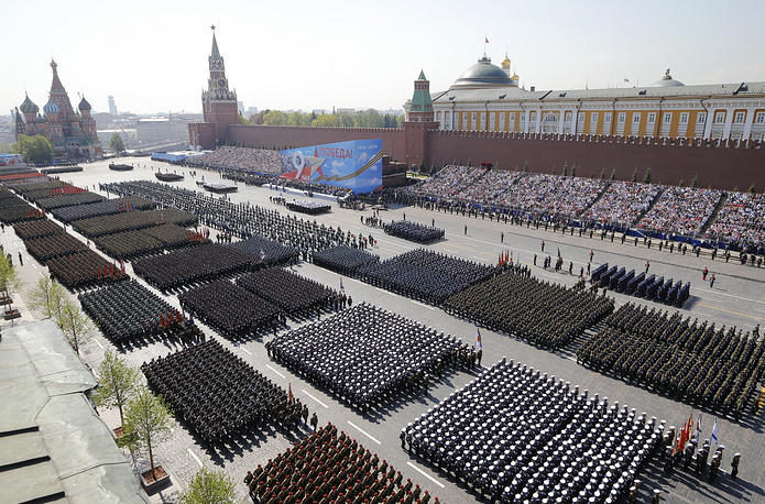 Russian soldiers marching along Red Square during a rehearsal for the Victory Day military parade in Moscow