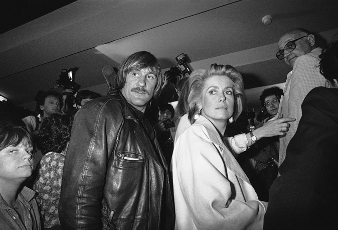 French movie star Catherine Deneuve and actor Gerard Depardieu in Cannes, 1984