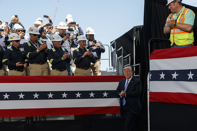 US President Donald Trump arriving to speak on energy infrastructure at the Cameron LNG export facility, Hackberry, USA, May 14
