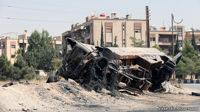 September 13. Demolished vehicle on the outskirts of Maalul city located north west to Damascus.
