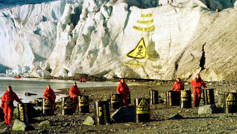 Barrels with names of chemical companies. Svalbard, North Arctic, 1999