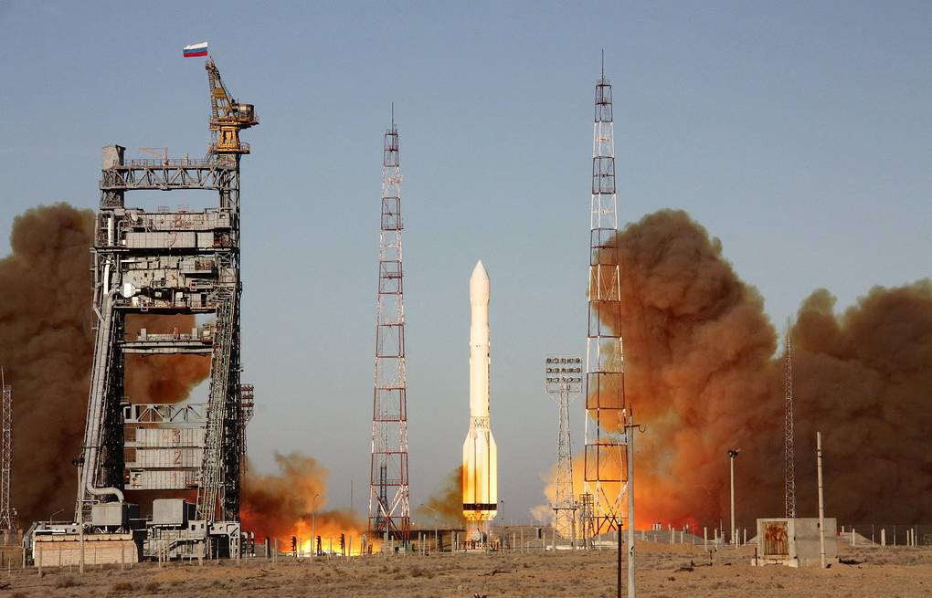 Express-AT1 was launched jointly with Express-AT2 from the Baikonur space center by a Russian Proton-M rocket ITAR-TASS/Oleg Urusov