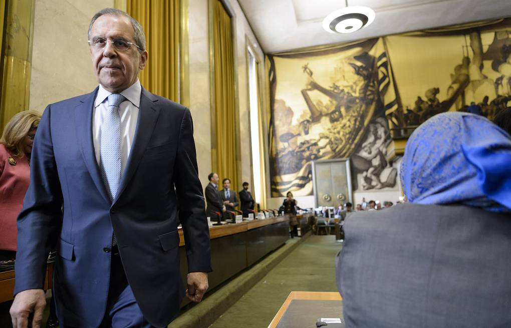 Russian Foreign Minister Sergei Lavrov at a high-level segment of the Disarmament Conference, UN, in Geneva EPA/LAURENT GILLIERON
