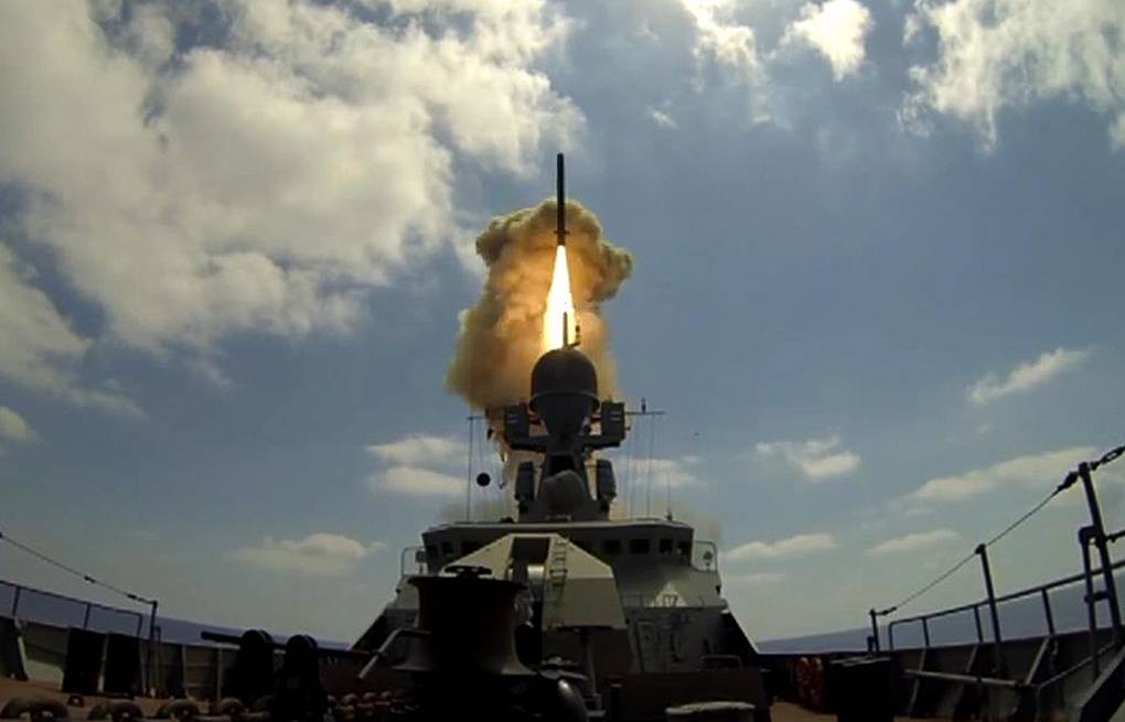 Kalibr missile fired from a Project 21631 Buyan-M series warship Screen shot/Russian Defense Ministry/TASS