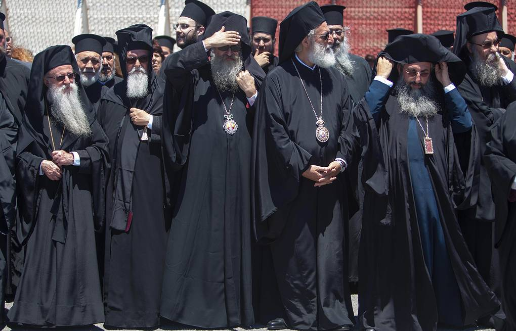 Senior Orthodox clergy at the airport of Chania in the Greek island of Crete  Holy and Great Council via AP