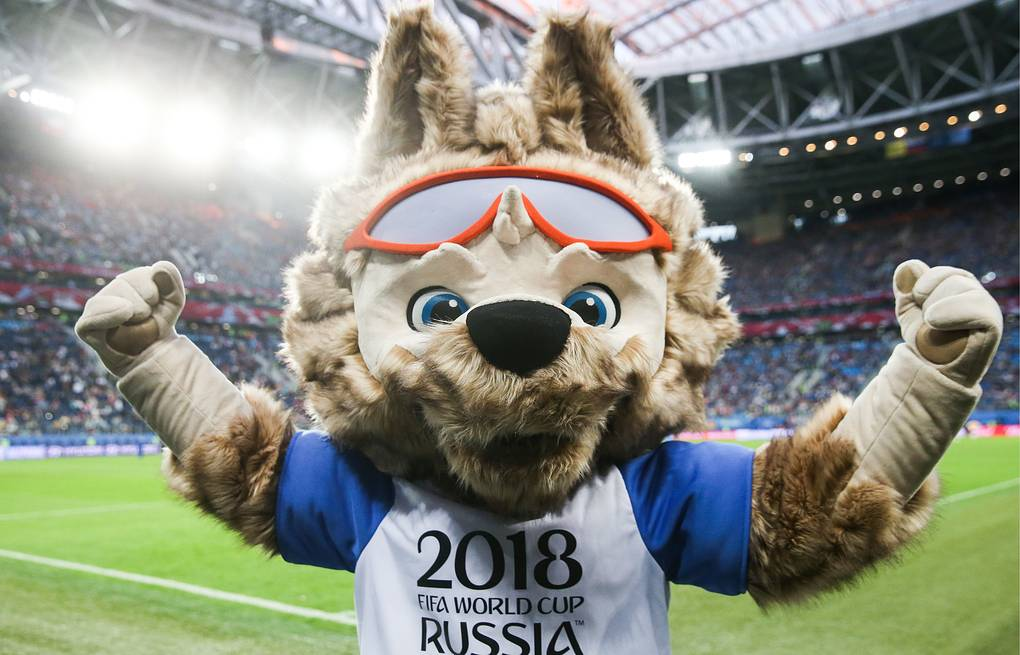 Wolf Zabivaka , the official mascot of the 2018 FIFA World Cup, in the 2017 FIFA Confederations Cup final football match Valery Sharifulin/TASS