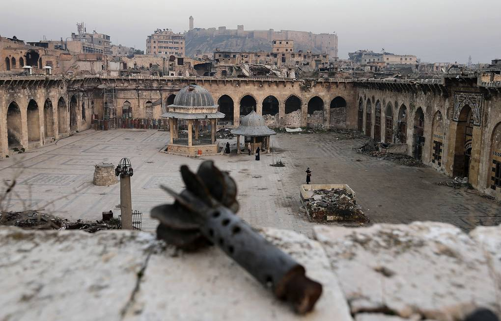 Heavily damaged Grand Umayyad mosque in the old city of Aleppo, Syria AP Photo/Hassan Ammar