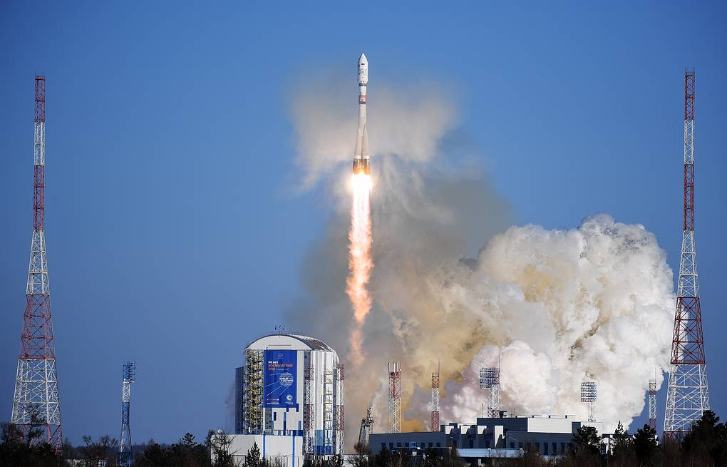 Soyuz-2.1a carrier rocket with satellites Kanopus-V No. 3 and No. 4 launched from Vostochny spaceport Donat Sorokin/TASS