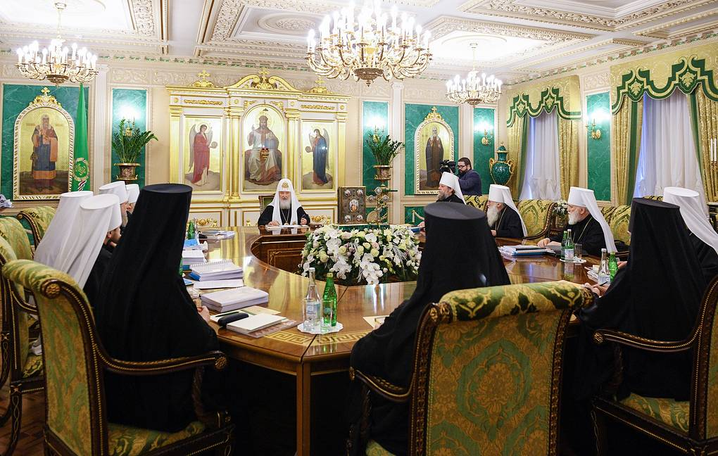 The meeting of the Holy Synod of the Russian Orthodox Church Sergei Vlasov/Press Office of the Patriarch of Moscow and All Russia/TASS