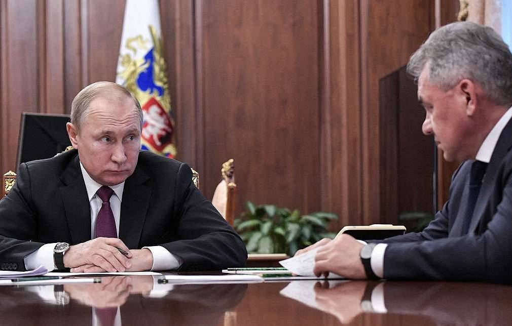 Russian President Vladimir Putin and Russian Defense Minister Sergei Shoigu Alexei Nikolsky/Press Service of the Russian President/TASS