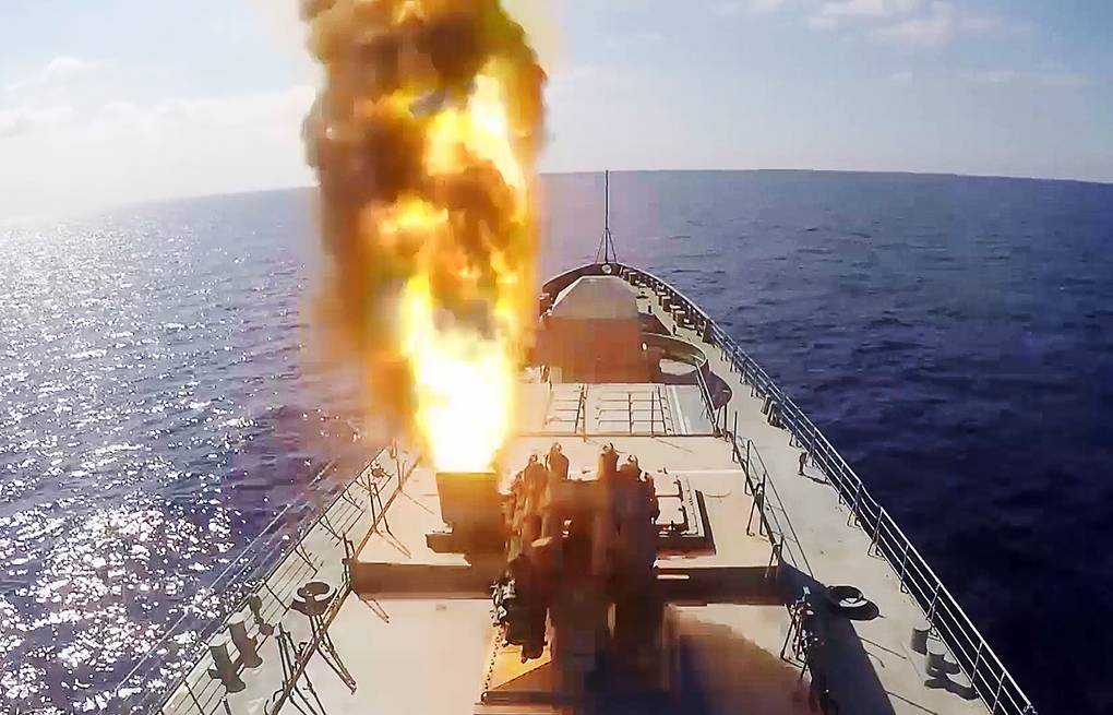 Kalibr cruise missiles launched by a Russian Navy ship  Russian Defense Ministry Press Office/TASS
