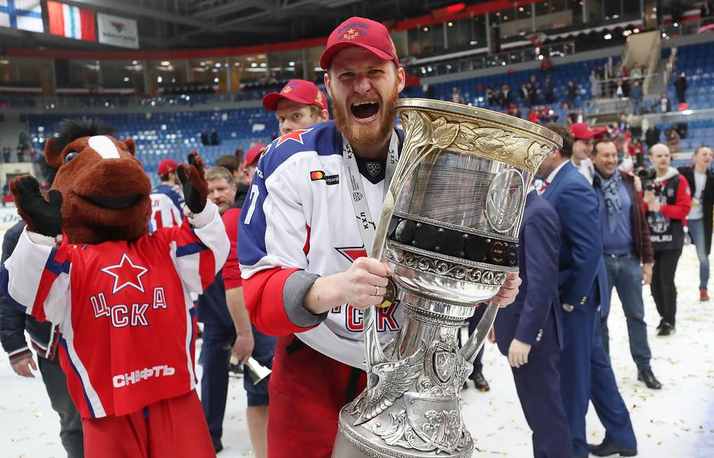 A CSKA Moscow player holds the Gagarin Cup trophy during the medal ceremony  Sergei Savostyanov/TASS