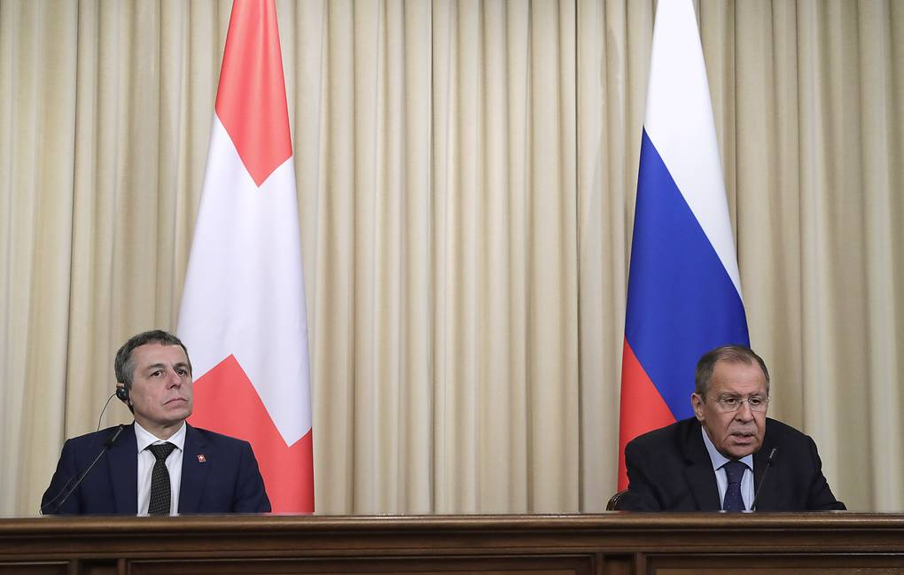 Switzerland's Foreign Minister Ignazio Cassis and Russian Foreign Minister Sergey Lavrov  Mikhail Metzel/TASS