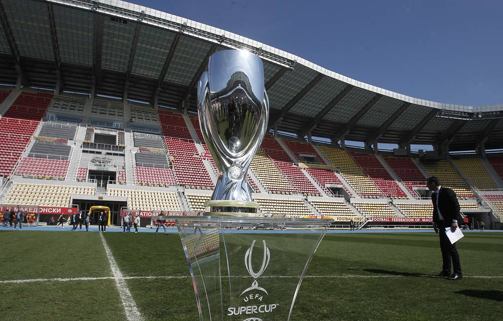 UEFA Super Cup trophy AP Photo/Boris Grdanoski