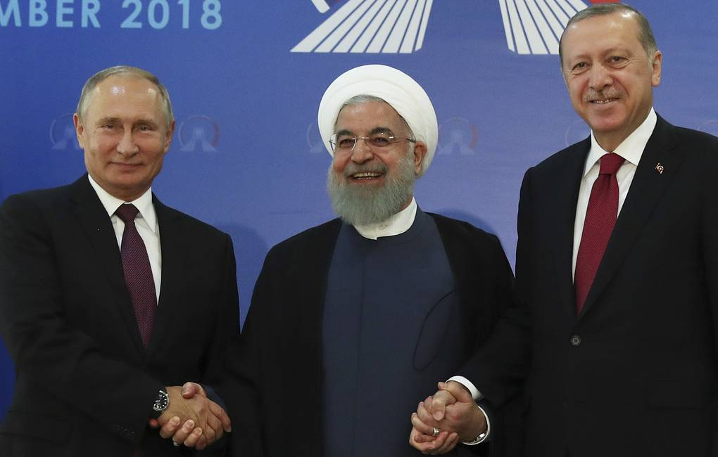 From left: Russian President Vladimir Putin, Iran's President Hassan Rouhani, and Turkey's President Recep Tayyip Erdogan, September 2018 Presidential Press Service via AP, Pool