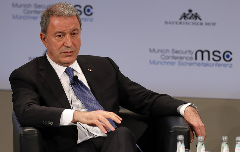 Turkish Defense Minister Hulusi Akar EPA-EFE/RONALD WITTEK