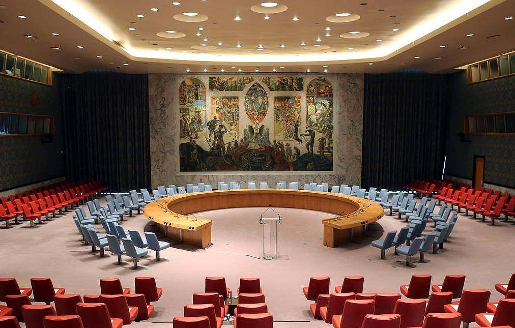 The UN Security Council Chamber   AP Photo/Mary Altaffer