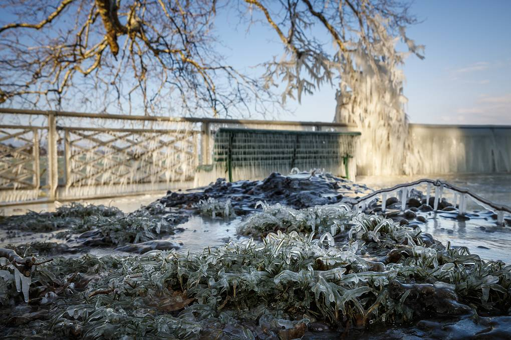 epa06567060 Ice covered grass at the frozen shore of Lake Geneva during a windy winter day, in Geneva, Switzerland, 26 February 2018. Media reports state that extreme cold weather is forecast to hit many parts of Europe with temperatures plummeting to a possible ten year low. EPA-EFE/VALENTIN FLAURAUD