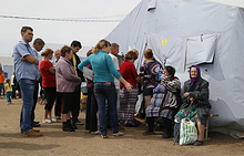 Ukrainian refugees at a refugee camp in Rostov region, Russia