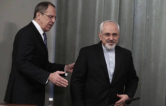 Russia's Foreign Minister Sergei Lavrov and his Iranian counterpart Javad Zarif