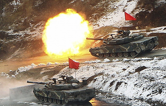 South Korean K1 tanks during war games at Key Resolve