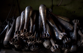 Improvised mortar shells used by Syrian rebels