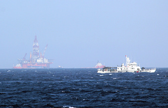 Chinese coast guard vessel near the area of China's oil drilling rig near the Paracel Islands