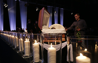 Mourning ceremony for Channel One cameraman Anatoly Klyan