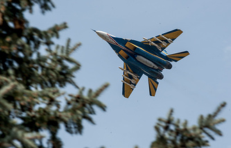 A Ukrainian fighter jet seen in eastern Ukraine, Apr. 2014