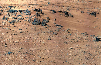 The 'Rocknest' site, which has been selected as the likely location for first use of the scoop on the arm of NASA's Mars rover Curiosity