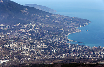General view from Ai-Petri peak in the Crimean mountains on Yalta