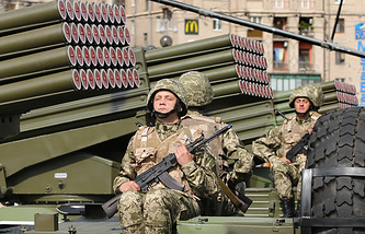 Ukrainian servicemen seen during military parade oin Kiev