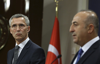 NATO Secretary General Jens Stoltenberg and Turkey's Foreign Minister Mevlut Cavusoglu
