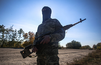 A soldier seen at a Ukrainian chec point in Luhansk region