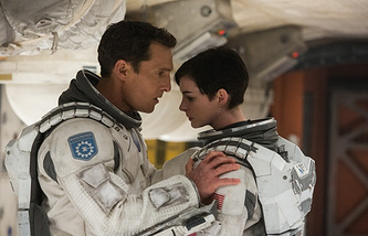 "Matthew McConaughey and Anne Hathaway in a scene from the film '""Interstellar"""