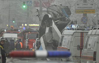 Site of a bomb blast on a trolleybus in Volgograd (archive)