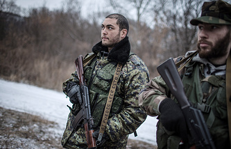 Militiamen in eastern Ukraine's Luhansk region