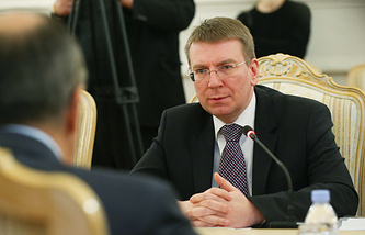 Latvian foreign minister Edgars Rinkevics during a meeting with Russian foreign minister Sergei Lavrov