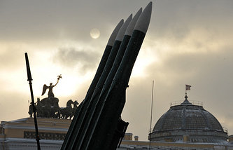 Buk missiles seen during an arms show in St.Petersburg, Russia