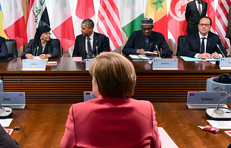 A working session of a G7 summit at the Elmau Castle in Germany