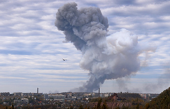 Aftermath of explosion near the Donetsk chemical plant (archive)