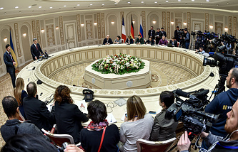 Press conference following Normandy format Ukraine peace talks in Minsk (archive)