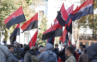 Rught Sector flags seen during a rally in Kiev (archive)