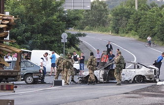 Police in Mukachevo after the shootout between the law enforcement officers and Right Sector fighters