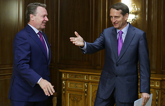 OSCE Parliamentary Assembly president Ilkka Kanerva (left) and the chairman of the Russian State Duma Sergey Naryshkin (right)