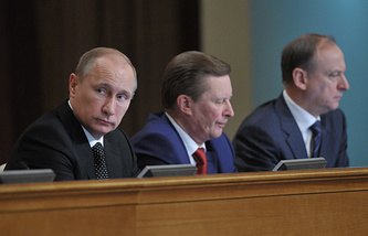 Russian President Vladimir Putin, Kremlin Chief of Staff Sergey Ivanov and Security Council Secretary Nikolay Patrushev