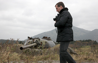 Dmitry Medvedev visiting the Kuril Islands in 2010