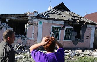 Aftermath of a shelling in Donetsk (archive)
